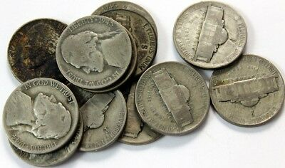 12 - War Years - Jefferson Nickles,  Every One Has The Large Mint Mark