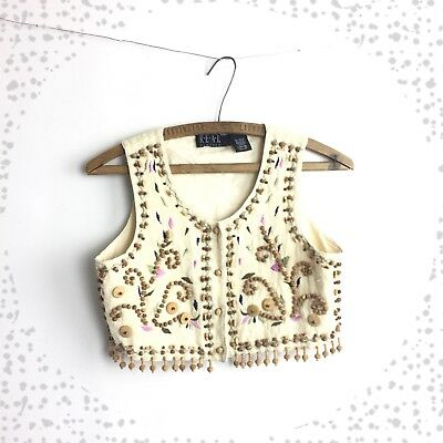 Vintage 90's Embroidered Beaded Linen Cotton Vest Tassel Size Small S
