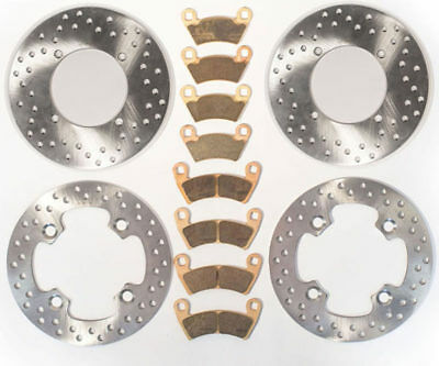 2010-2014 Polaris RZR 4 800 Front & Rear Rotors Discs and Severe Duty Brake Pads