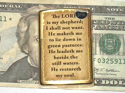 A New ZIPPO Windproof Lighter 2048 Lords Pray The Lord is My Shepherd Brass Case