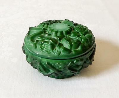 Ornate Antique Early 20Th C Art Nouveau Malachite Glass Dressing Table Pot
