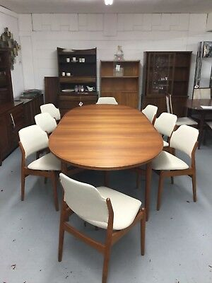Danish Mid Century Modern Arne Vodder Sibast Mobler Dining Table and 8 Chairs