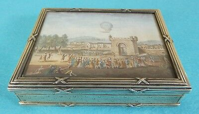 Rare French Sterling Silver Table Box Picture Montgolfier Balloon Paris Ca1790