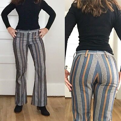 VTG 60s 70s STRIPED Bell Bottoms Retro HIPPIE Disco Bellbottoms FLARE Pants W 29