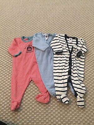 Baby Boy Petit Bateau Set Of Three Baby Grows - 3 Months
