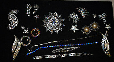 Large Lot Of Vintage Rhinestone Jewelry Brooches Earrings Bracelets