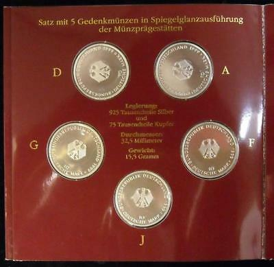 Germany Bundes Rep Constitution 10 Mark 1999 A-D-F-G-J 5 Proof Silver Coins