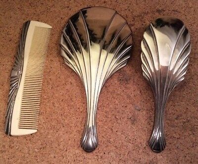 White Metal Art Deco Hand Brush Mirror And Comb Dressing Table Set