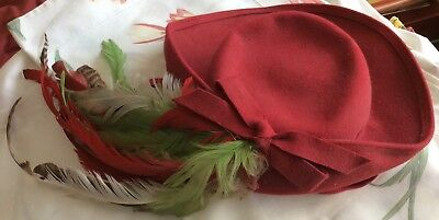 Vintage Ladies Best & Co. Red Bow Brim Hat Chin Strap Fifth Ave New York