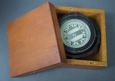 Antique Water Compass Mounted in Dovetailed Wooden Box