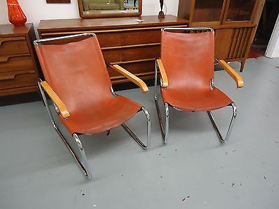 Mid Century Modern Marcel Breuer S35 Chairs In Leather, Pair