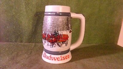 1982 Budweiser 50th Anniversary Clydesdales Holiday Beer Stein Mug 1933-1983