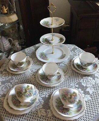 Pretty Vintage Royal Vale Bone China Tea Set And Matching Cake Stand New Price
