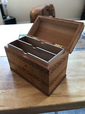 Antique Wooden Playing Card Box