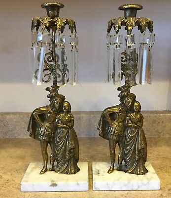 """Pair Victorian  15"""" Brass& Marble Girandoles Faceted Crystal Prisms Male Female"""