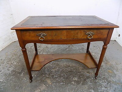 small,antique,walnut,desk,hall table,drawer,writing desk,table,hall,castors,