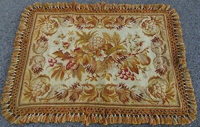 Semi Antque European Needlepoint Needlework Wool Rug Made As A Rug To Walk On