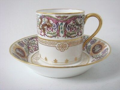 Sevres Porcelain Hunting Service Dated 1846 Coffee Can & Saucer Superb Animals!