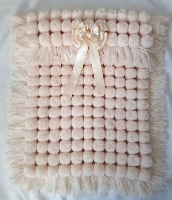 Cream Pom Pom Turnover Baby Boy Girl Blanket, Long Tassels And Removable Bow