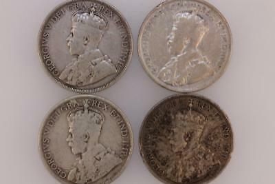 Early Canadian Silver Half Dollars 1911 1917 1918 & 1919