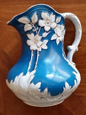 Antique Wheeling White and Blue Pottery La Belle china pitcher, 8 inches