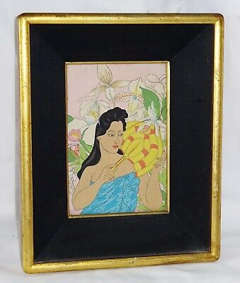 """Vtg French/Japanese Small Woodblock Print """"White Orchids"""" by Paul Jacoulet (Lon)"""