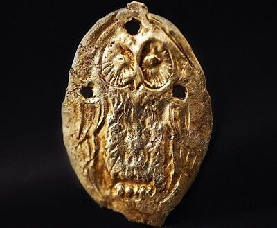 Ancient Roman Solid GOLD Amulet Pendant depicting Owl of Minerva, c 250-350 AD.