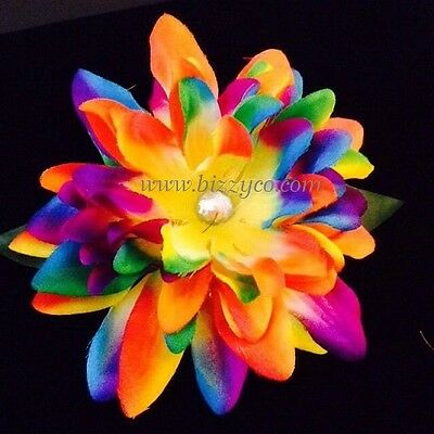 Rainbow Flower Hair Clip. Bow. Extra Large. Rhinestone Center. Appx4""