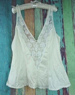 Vtg JCPENNY Fantasia Womens Sz 34 Camisole Lingerie USA White Lace Nylon Union