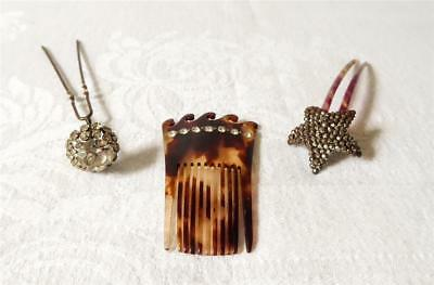 Three Antique Early 20Th C Lady'S Hair Combs & Jewel Faux Tortoiseshell Diamanté