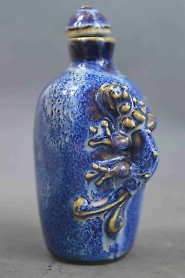 Collectable Handwork Decor Porcelain Painting Lizard Exorcism Lucky Snuff Bottle