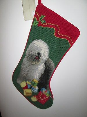 Old English Sheepdog  Dog Needlepoint Christmas Stocking NWT