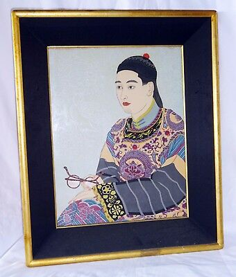 """'50s French WB Print """"The Mandarin in Glasses, Manchuria"""" by Paul Jacoulet (Lon)"""