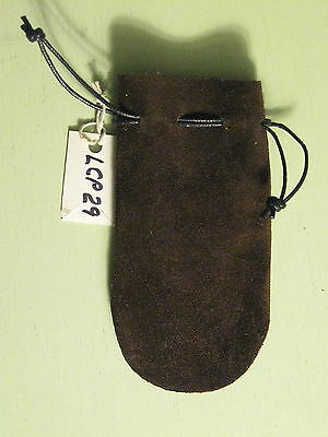 Lcp-29 Dark Brown Suede Leather Coin Pouch Or Bag  Free Shipping In Usa.