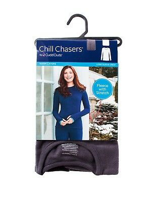 Chill Chasers Cuddl Duds Warm Layers Long Sleeve Fleece w/Stretch Crew-MULT SIZE