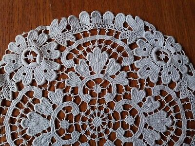 Antique Stunning Belgian Brussels Lace Table Runner, Doily Handmade Round 8""