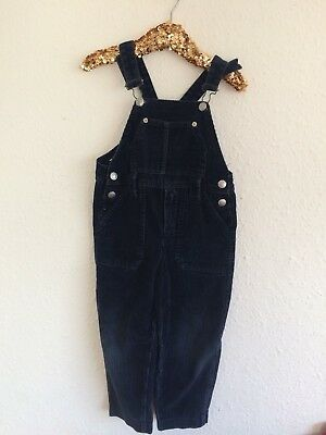 Vintage Kids French Navy Blue Arts Crafts Folksy Cord Overalls Dungarees 3-4 Y