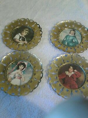 Vintage wall portraits with butterfly brass borders MADE IN ENGLAND set of 4