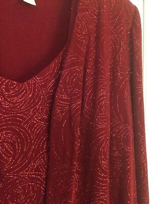 Red Evening Gown with Matching Jacket by Alex Evenings, Size 22WP