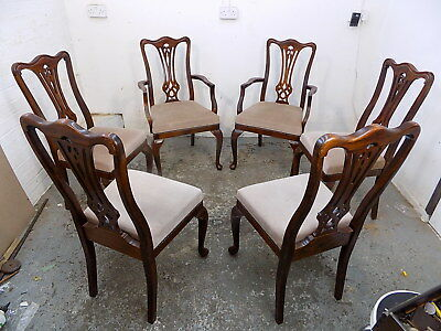six,Georgian,style,dining chairs,cabriole legs,high back,chairs,dining,chair
