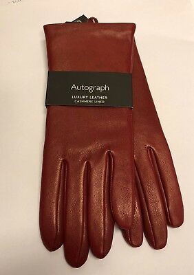 Marks And Spencer M&S Ladies Cashmere Lined Leather Gloves Small RED ** New **