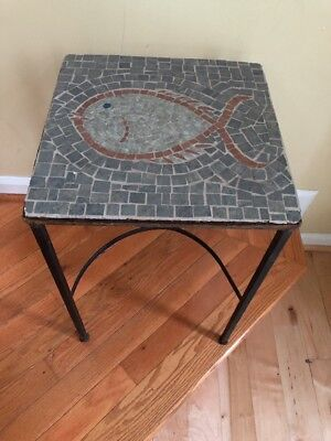 Vintage Iron Tile Mosaic Side End Table Outdoor Patio Fish