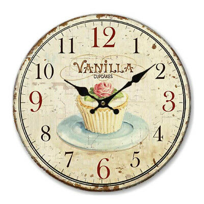 Floral Wall Clock Vintage Shabby Chic Pastel Style 34cm Wall Clock Home M7Y3