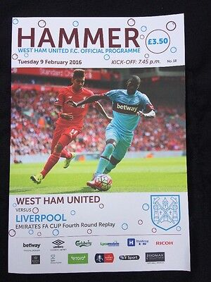 WEST HAM UNITED V LIVERPOOL FA Cup replay 9/2/16 (2015-2016)