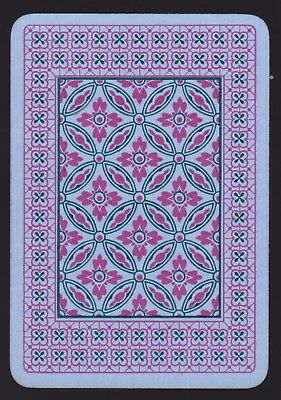 1 Single ANTIQUE Playing/Swap Card OLD WIDE REVERSIBLE FLOWERS CIRCLES Pink/Blue