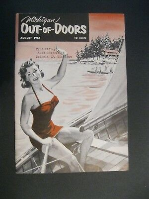 VTG 1951 August Michigan MI Out of Doors Magazine Hunting Fishing Fish Sail Boat