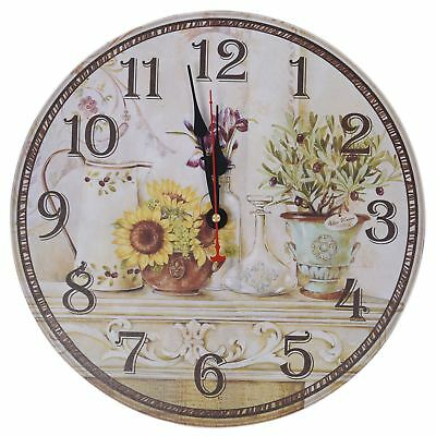 Vintage Antique Style 34cm Wall Clock Home Bedroom Retro Kitchen Quartz  BF