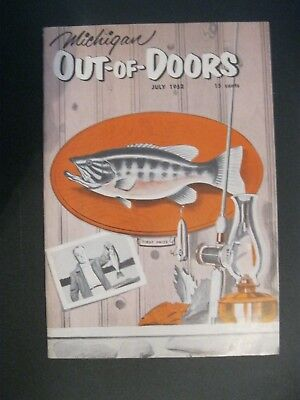 VTG 1952 July Michigan MI Out of Doors Magazine Hunting Fishing Game Fish Beer