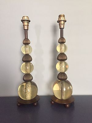 vintage lucite and brass lamps pair art deco style or mid century table lamps