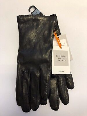 John Lewis Ladies Cashmere Lined Leather Gloves Small/Medium BLACK *New*